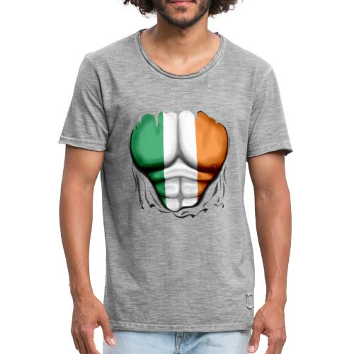 Ireland Flag Ripped Muscles, six pack, chest t-shirt - Men's Vintage T-Shirt