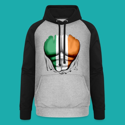 Ireland Flag Ripped Muscles, six pack, chest t-shirt - Unisex Baseball Hoodie