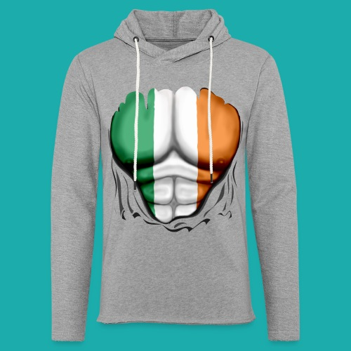 Ireland Flag Ripped Muscles, six pack, chest t-shirt - Light Unisex Sweatshirt Hoodie