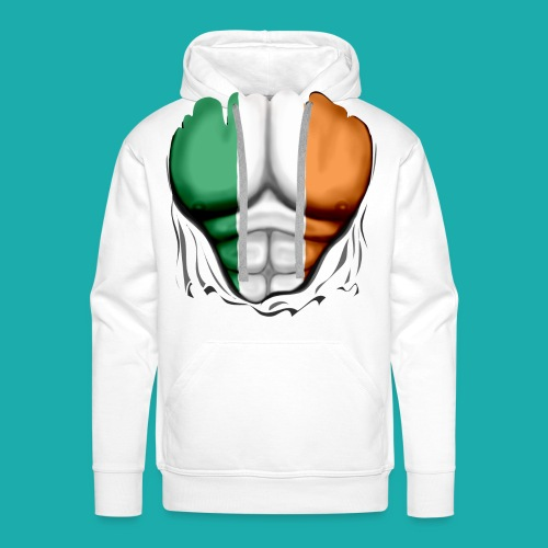 Ireland Flag Ripped Muscles, six pack, chest t-shirt - Men's Premium Hoodie