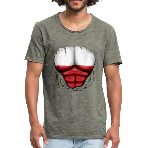 Poland Flag Ripped Muscles, six pack, chest t-shirt - Men's Vintage T-Shirt