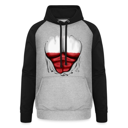 Poland Flag Ripped Muscles, six pack, chest t-shirt - Unisex Baseball Hoodie