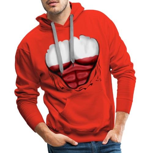 Poland Flag Ripped Muscles, six pack, chest t-shirt - Men's Premium Hoodie