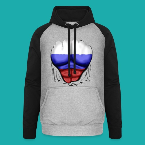 Russia Flag Ripped Muscles, six pack, chest t-shirt - Unisex Baseball Hoodie