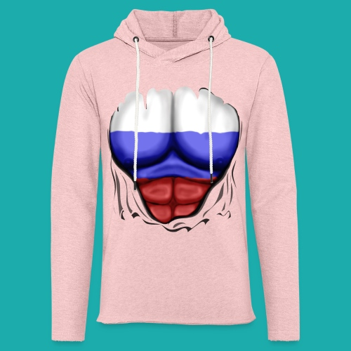 Russia Flag Ripped Muscles, six pack, chest t-shirt - Light Unisex Sweatshirt Hoodie
