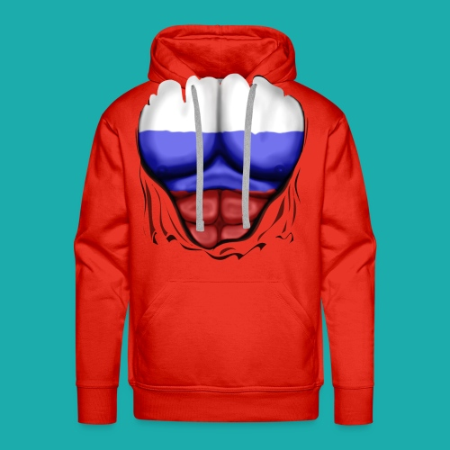 Russia Flag Ripped Muscles, six pack, chest t-shirt - Men's Premium Hoodie