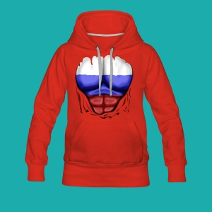 Russia Flag Ripped Muscles, six pack, chest t-shirt - Women's Premium Hoodie