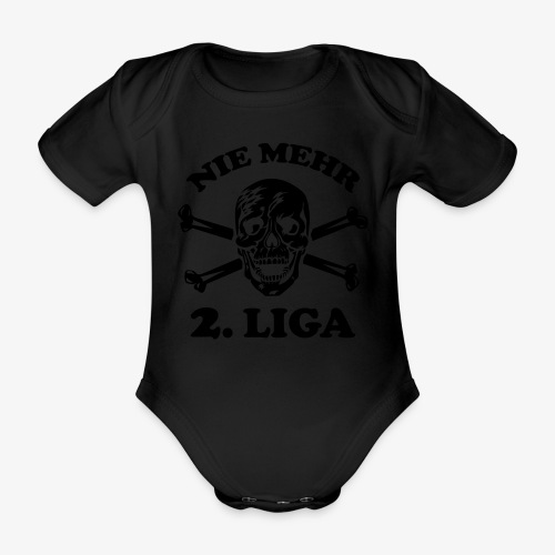 NIE MEHR 2. LIGA mit Totenkopf / Tattoo Männer T-Shirt schwarz - Baby Bio-Kurzarm-Body