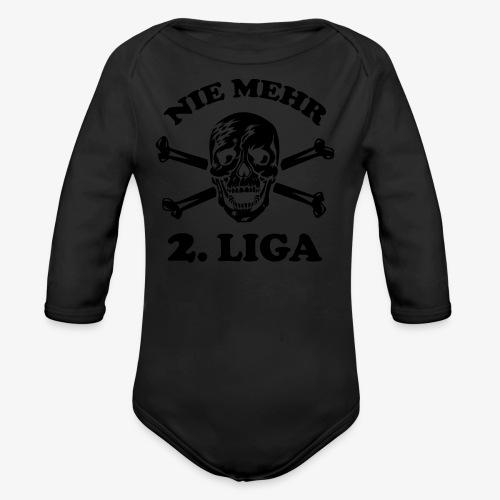 NIE MEHR 2. LIGA mit Totenkopf / Tattoo Männer T-Shirt schwarz - Baby Bio-Langarm-Body