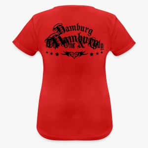 BEIDSEITIG!!! The One and Only + HAMBURG 1c Frauen Shirt rot - Frauen T-Shirt atmungsaktiv