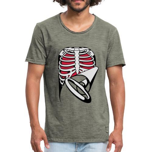 Skeleton Key, bones, chest t-shirt, ribs - Men's Vintage T-Shirt