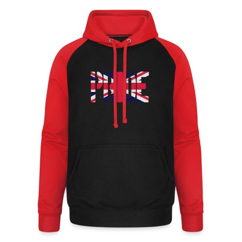PRIDE Britain Flag, British Flag, Union Jack, UK Flag - Unisex Baseball Hoodie