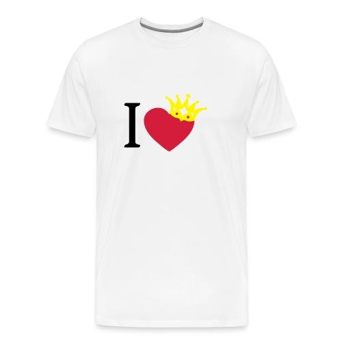 I LOVE ... mit Herz & Krone 1 + Dein Text mit edding | Buttons 56 mm - Männer Premium T-Shirt