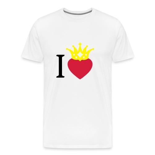 I LOVE ... mit Herz & Krone 2 + Dein Text mit edding | Buttons 56 mm - Männer Premium T-Shirt