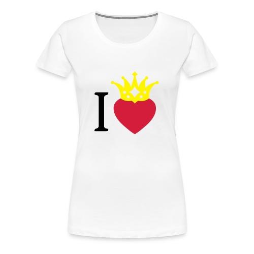 I LOVE ... mit Herz & Krone 2 + Dein Text mit edding | Buttons 56 mm - Frauen Premium T-Shirt