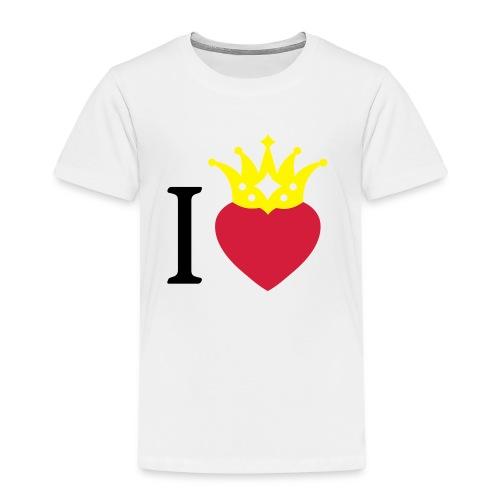 I LOVE ... mit Herz & Krone 2 + Dein Text mit edding | Buttons 56 mm - Kinder Premium T-Shirt