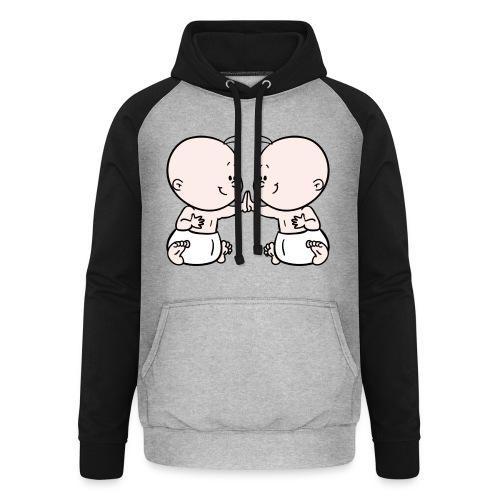 Rompertje met tweeling babies - Unisex baseball hoodie