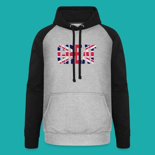 Great Britain Flag, British Flag, Union Jack, UK Flag - Unisex Baseball Hoodie