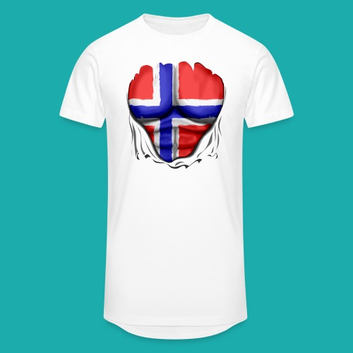 Norway Flag Ripped Muscles six pack chest apron - Men's Long Body Urban Tee