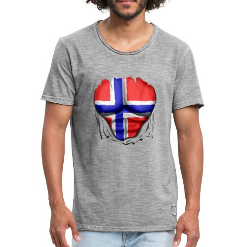 Norway Flag Ripped Muscles six pack chest apron - Men's Vintage T-Shirt
