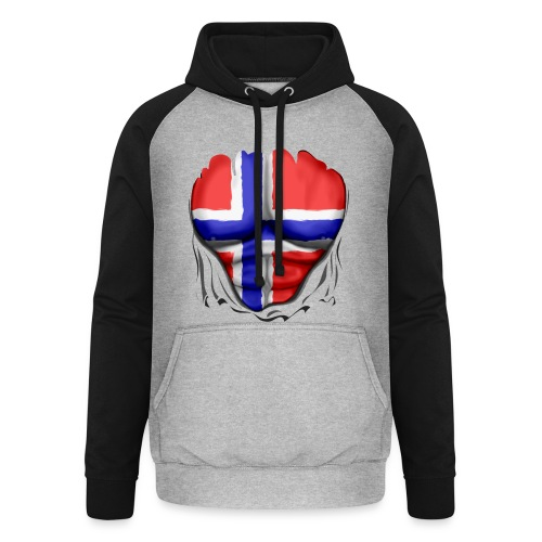 Norway Flag Ripped Muscles six pack chest apron - Unisex Baseball Hoodie