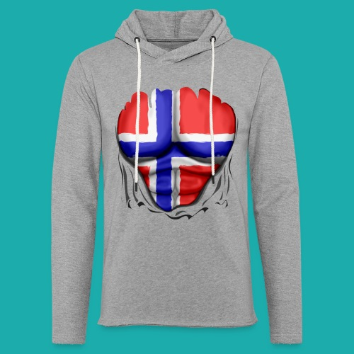Norway Flag Ripped Muscles six pack chest apron - Light Unisex Sweatshirt Hoodie