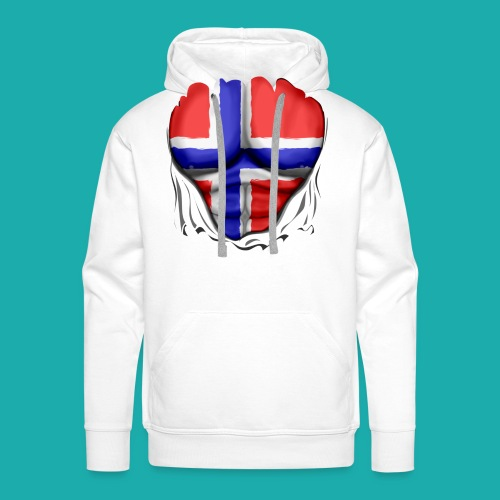 Norway Flag Ripped Muscles six pack chest apron - Men's Premium Hoodie