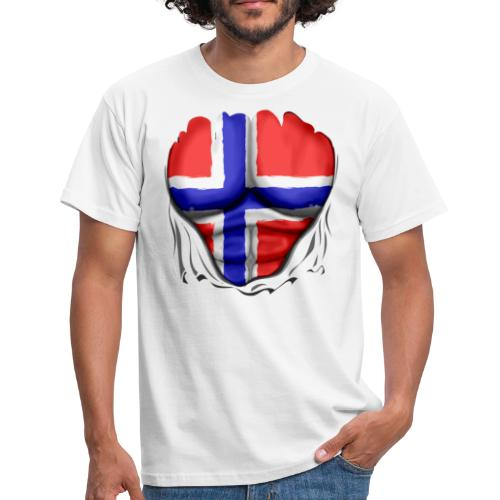 Norway Flag Ripped Muscles six pack chest apron - Men's T-Shirt