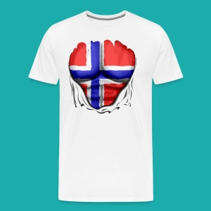 Norway Flag Ripped Muscles six pack chest apron - Men's Premium T-Shirt