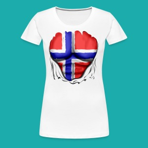Norway Flag Ripped Muscles six pack chest apron - Women's Premium T-Shirt