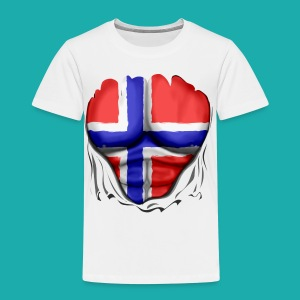 Norway Flag Ripped Muscles six pack chest apron - Kids' Premium T-Shirt
