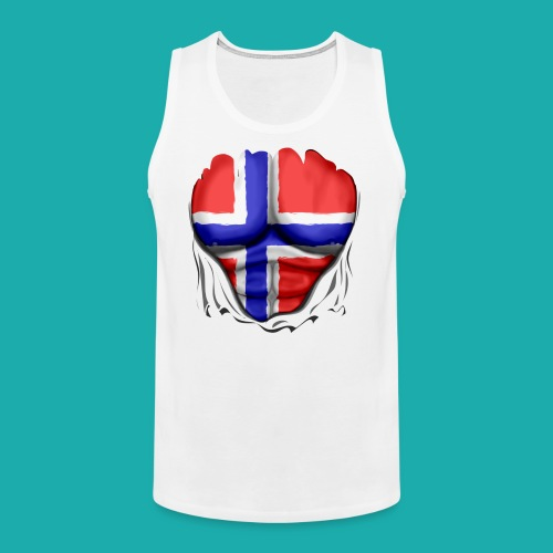 Norway Flag Ripped Muscles six pack chest apron - Men's Premium Tank Top