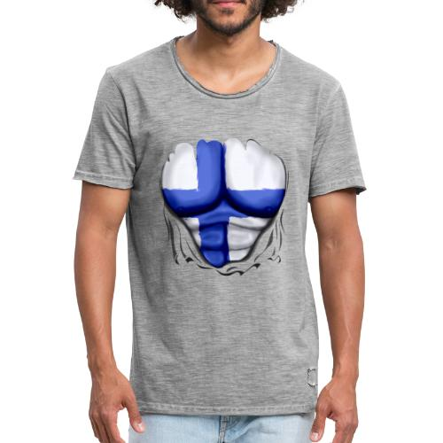 Finland Flag Ripped Muscles six pack chest t-shirt - Men's Vintage T-Shirt