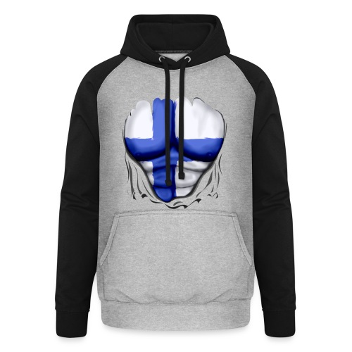 Finland Flag Ripped Muscles six pack chest t-shirt - Unisex Baseball Hoodie