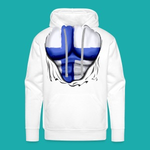 Finland Flag Ripped Muscles six pack chest t-shirt - Men's Premium Hoodie