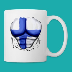 Finland Flag Ripped Muscles six pack chest t-shirt - Mug