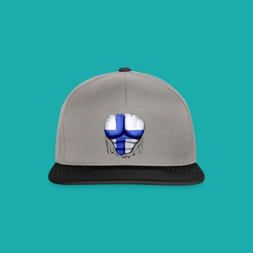 Finland Flag Ripped Muscles six pack chest t-shirt - Snapback Cap
