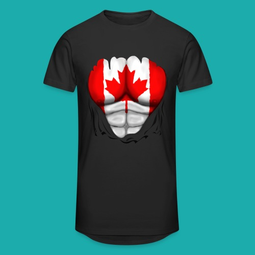Canada Flag Ripped Muscles, six pack, chest t-shirt - Men's Long Body Urban Tee
