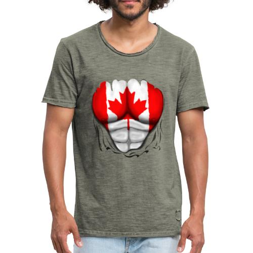 Canada Flag Ripped Muscles, six pack, chest t-shirt - Men's Vintage T-Shirt