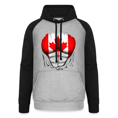 Canada Flag Ripped Muscles, six pack, chest t-shirt - Unisex Baseball Hoodie