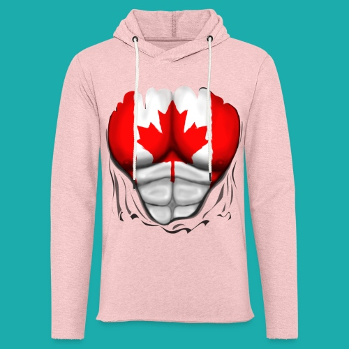 Canada Flag Ripped Muscles, six pack, chest t-shirt - Light Unisex Sweatshirt Hoodie