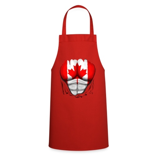 Canada Flag Ripped Muscles, six pack, chest t-shirt - Cooking Apron