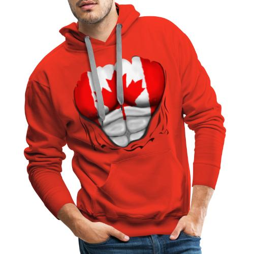 Canada Flag Ripped Muscles, six pack, chest t-shirt - Men's Premium Hoodie