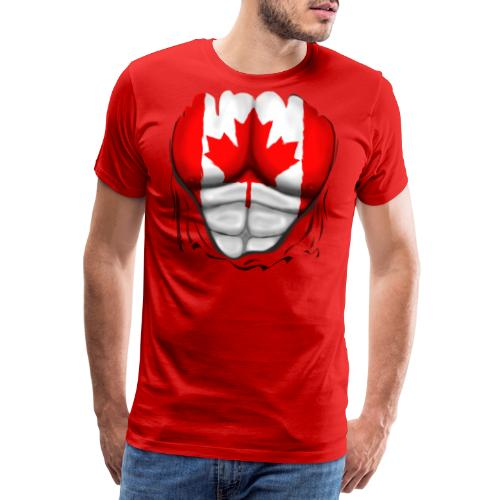 Canada Flag Ripped Muscles, six pack, chest t-shirt - Men's Premium T-Shirt