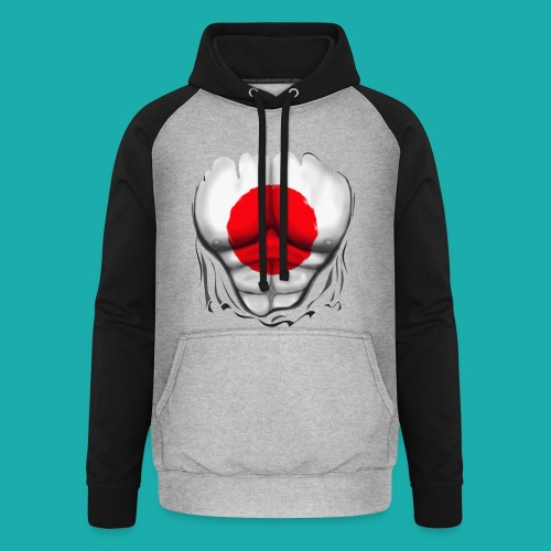 Japan Flag Ripped Muscles, six pack, chest t-shirt - Unisex Baseball Hoodie