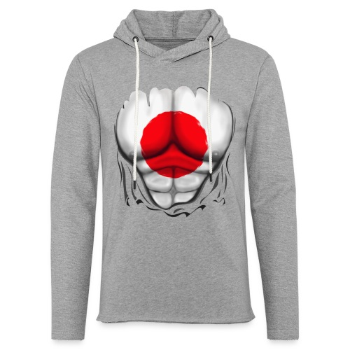 Japan Flag Ripped Muscles, six pack, chest t-shirt - Light Unisex Sweatshirt Hoodie