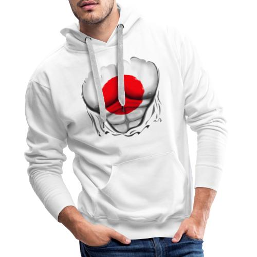 Japan Flag Ripped Muscles, six pack, chest t-shirt - Men's Premium Hoodie