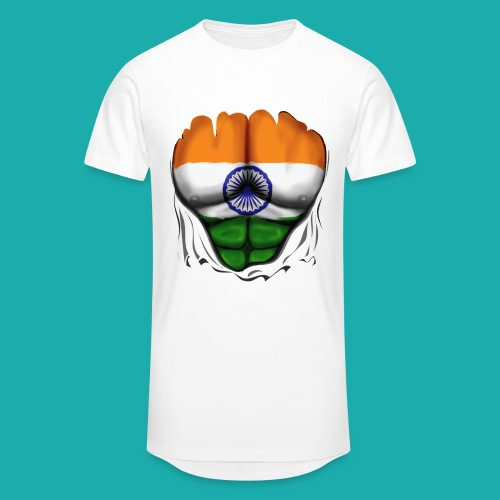 India Flag Ripped Muscles, six pack, chest t-shirt - Men's Long Body Urban Tee