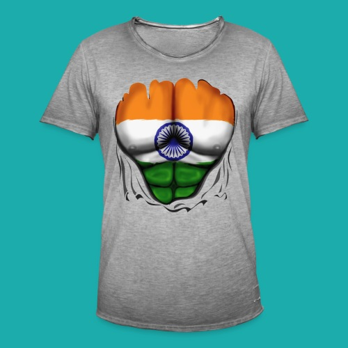 India Flag Ripped Muscles, six pack, chest t-shirt - Men's Vintage T-Shirt