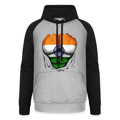 India Flag Ripped Muscles, six pack, chest t-shirt - Unisex Baseball Hoodie